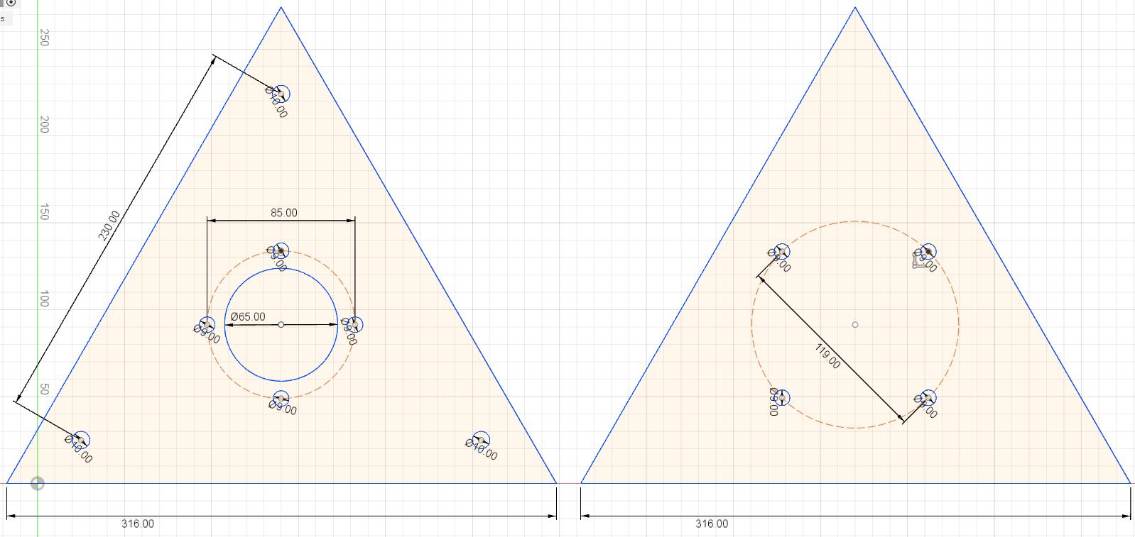 2 plaques acier 3mm triangles perc es. Black Bedroom Furniture Sets. Home Design Ideas