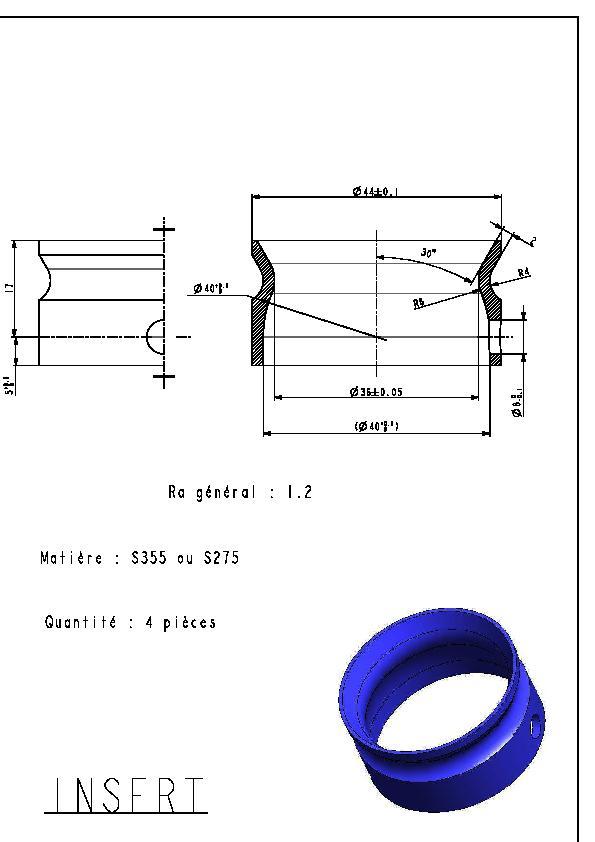 Steel insert for car.
